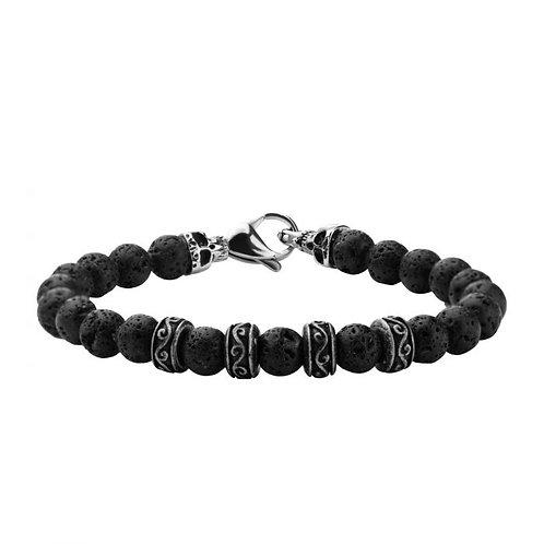 Black lava bead bracelet with stainless steel accents and skull end cap accents. Skull bracelet. Skeleton. Lava rock bracelet