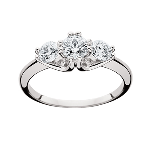 14K white gold diamond three stone engagement or anniversary band. Anniversary ring. Engagement ring. Three stone. 3 stone.