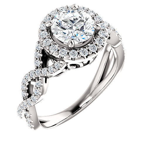 14K white gold diamond accented twisted style engagement ring with diamond halo and filigree details. Vintage cathedral ring.