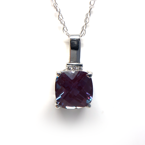 14K white gold and alexandrite pendant. White gold lab grown alexandrite necklace. Checkerboard cut cushion alexandrite.