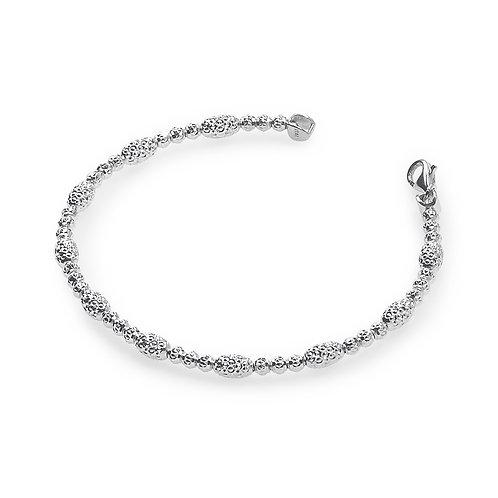 Platinum plated sterling silver faceted disco ball bracelet. Italian bracelet. Italian chain bracelet with platinum plating.