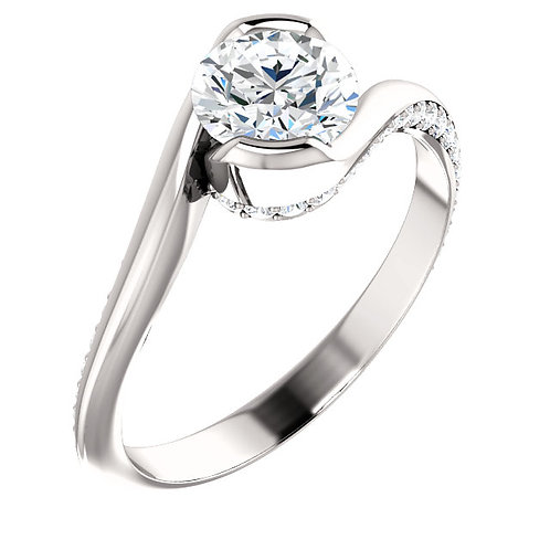 14K white gold bypass style half bezel diamond engagement ring with accent diamonds along ring shank. White gold ring.
