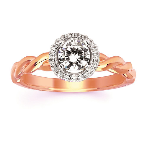 14K rose gold diamond solitaire engagement ring with diamond halo. Twisted solitaire engagement ring. Twisted band. Rose gold
