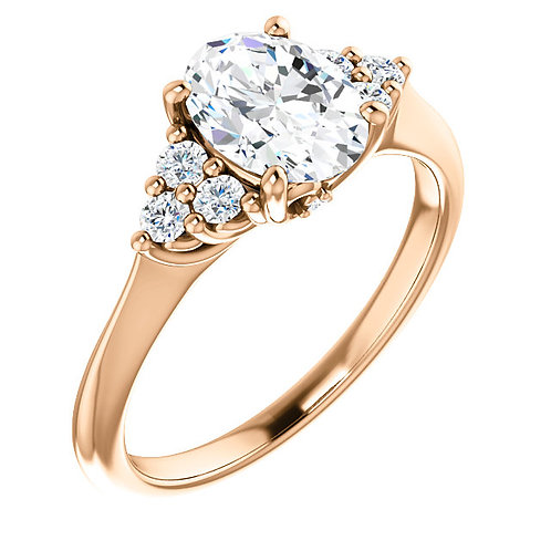 14K rose gold diamond accented engagement ring. Rose gold knife edge ring. Engagement ring. Triangle diamond ring. Trillions