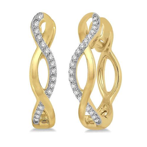10K Yellow gold diamond hoop earrings. Earrings with diamonds in infinity design hoop. Huggie hoop earrings. Diamond hoops.