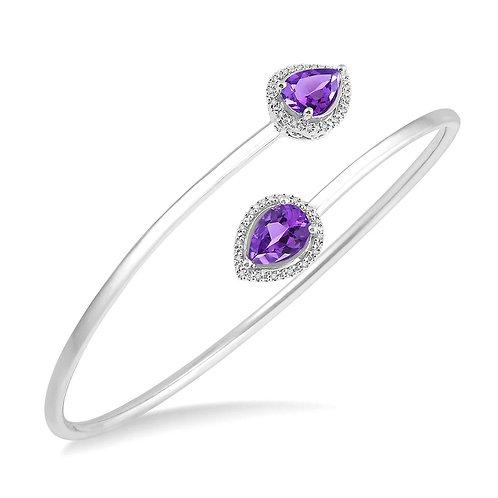 Sterling silver amethyst bracelet. Bangle bracelet with pear shaped amethyst stones. Purple stone bracelet. Bracelet.