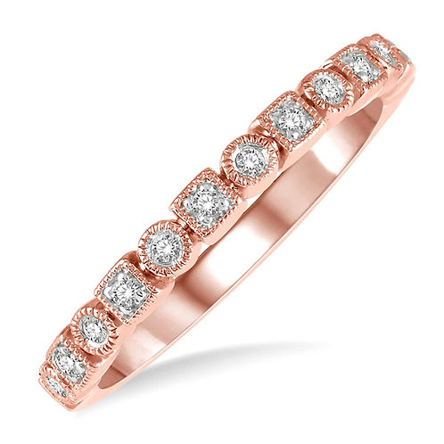 14K rose gold stackable ring with millgrain accented details. Square and round settings. Mixed shape ring with diamonds.
