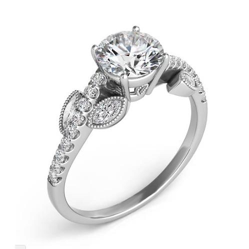14K white gold nature inspired diamond engagement ring. Leaf ring. Leaf inspired engagement ring. White gold leaf ring.