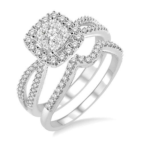 "14K white gold diamond engagement ring with halo center. ""WOW"" diamond square halo split band engagement ring. Wedding set."
