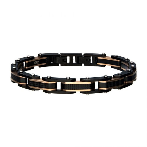 Black stainless steel bracelet with rose plated accents. Textured finish black stainless steel bracelet with rose gold plated