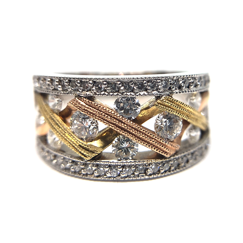 White gold band with diamonds and yellow and rose gold accents. 14K white gold band with yellow and rose gold. Vintage band.