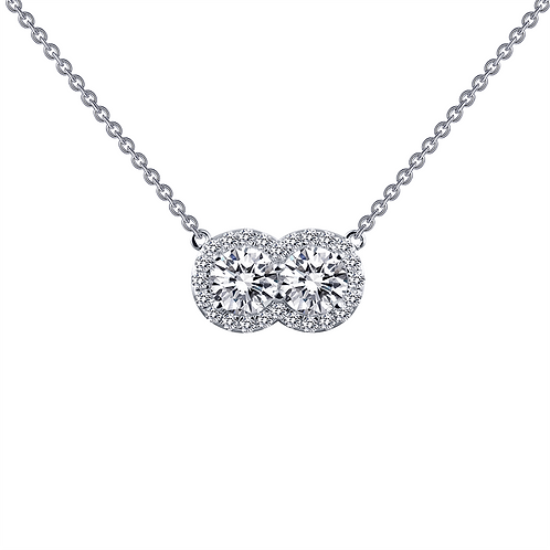 Two stone pendant. 2 stone pendant. Simulated diamond pendant. Halo pendant. Double halo pendant.