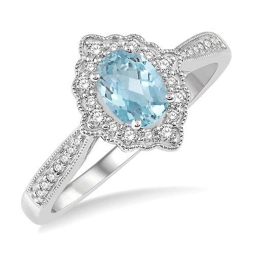10K white gold aquamarine and diamond vintage inspired ring with millgrain details. Diamond birthstone ring. Aquamarine ring.