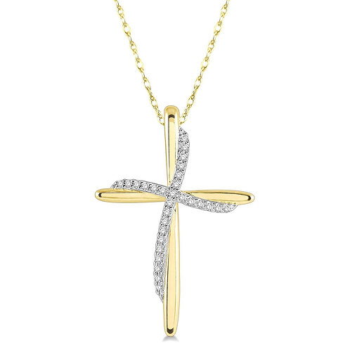 10K yellow gold diamond double cross freeform pendant. Freeform double cross pendant. Yellow gold cross. Cross necklace. Gold
