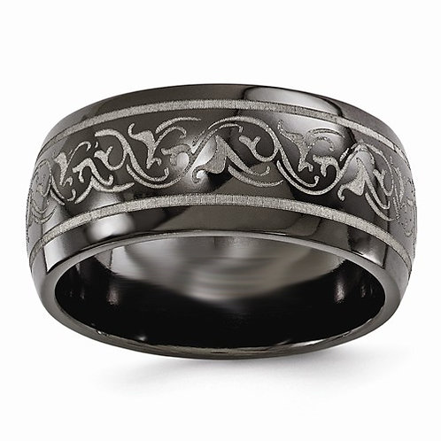 Men's black titanium wedding band with laser etched vine pattern. Men's black wedding band. Men's wide wedding ring. Men's