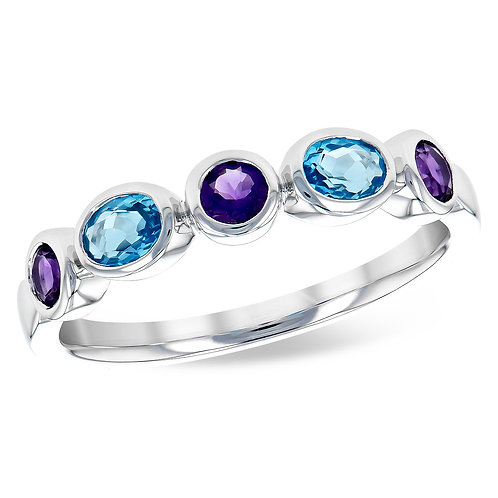 14K white gold ring with bezel set sky blue topaz and purple amethyst stones. Stackable colored stone ring. Amethyst topaz.