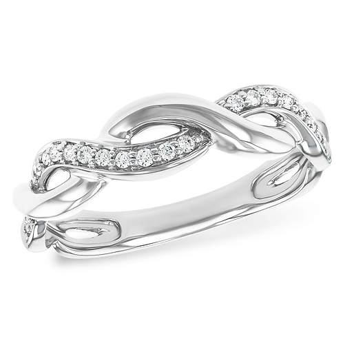 14K white gold twisted diamond wedding band or anniversary ring. White gold diamond twist band. Twisted band. Woven band.