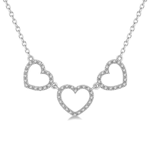 10K white gold triple heart necklace. Heart pendant. Heart necklace. White gold heart necklace. White gold heart pendant.