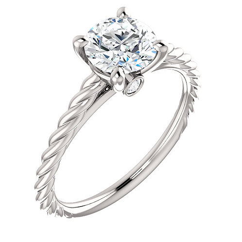 14K white gold diamond engagement ring with peek-a-boo diamond accent. Rope style solitaire engagement ring. Solitaire ring.
