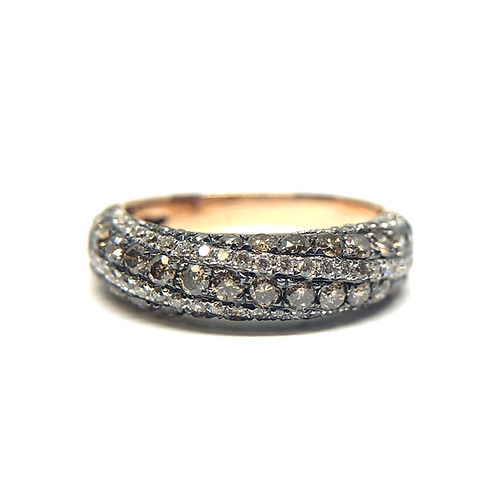 14K rose gold ring with brown and white diamonds. Chocolate and diamond ring. Rose gold ring. Diamond band. Anniversary band.