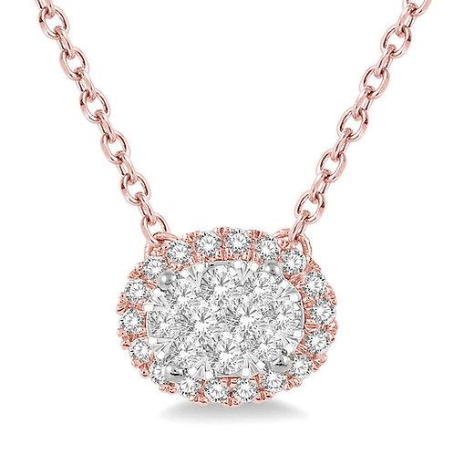 "14K rose gold pendant with diamonds. Diamond oval halo pendant necklace with ""WOW!"" diamond center. Diamond halo pendant."
