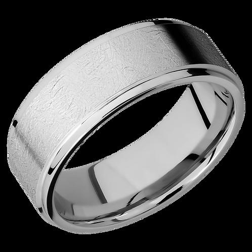 Men's cobalt chrome wedding ring with distressed finish. Wedding band with distressed finish. Distressed ring. Distress ring.