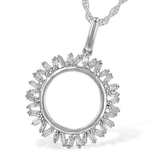 14K white gold diamond circle pendant with baguette shaped diamonds. Baguette diamond pendant. Circle pendant. White gold.