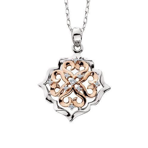 14K white and rose gold pendant with filigree heart pattern design and diamonds. Diamond pendant. Diamond heart necklace.