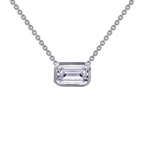 Sterling silver adjustable chain with bezel set emerald cut simulated diamond. Choker necklace. Emerald cut choker necklace.