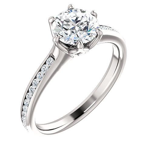 14K white gold diamond engagement ring with diamond accented band. Channel set diamond band. Basket set diamond ring. White.