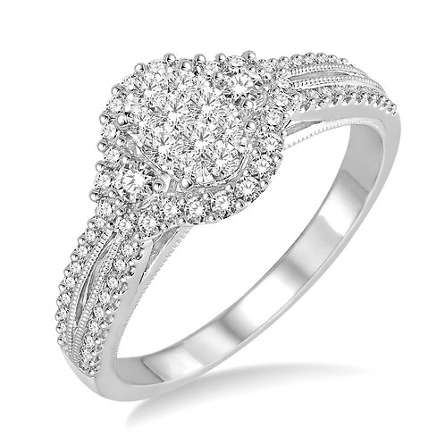 """14K white gold """"WOW!"""" diamond engagement ring. Engagement ring with cluster diamond center. Oval engagement ring. Oval ring."""