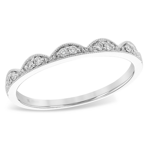 14K white gold tiara style stackable band. Stackable ring. Stacking ring. Crown ring. Tiara ring. Princess ring. White gold.