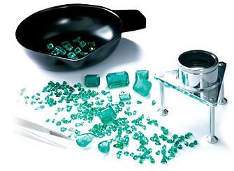Lab grown emerald stones. Stones with lab equipment Synthetic stones. Eco friendly flawless emeralds.