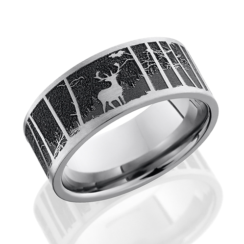 Titanium Men's Wedding Band with Laser Etched Elk Mountain Scene