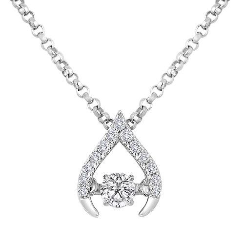 14K white gold wishbone pendant with dancing diamond. Diamond necklace pendant. White gold diamond pendant. Wishbone necklace