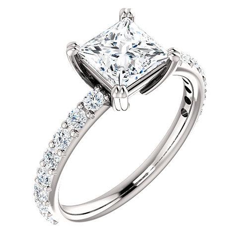 14K white gold diamond engagement ring with princess cut diamond center stone. Square diamond engagement ring. Prong set ring
