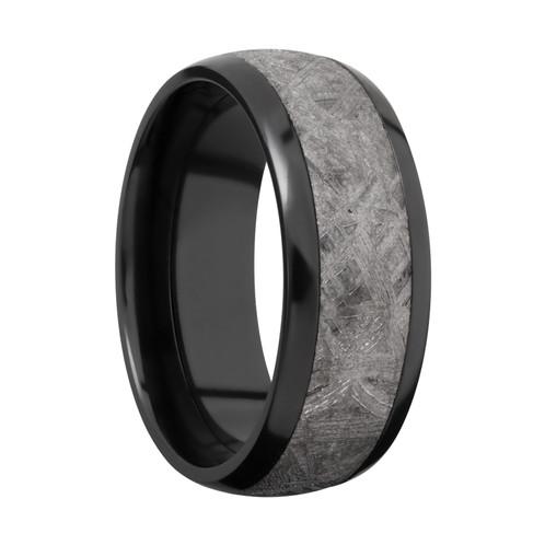 Men S Black Zirconium Wedding Band With Meteorite Inlay