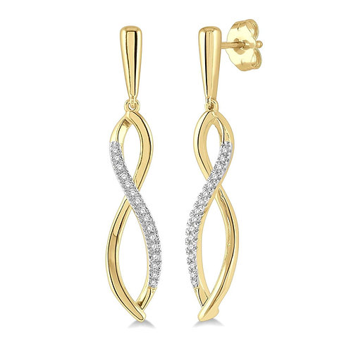 10K yellow gold diamond drop earrings. Diamond twist drop earrings. Infinity earrings. Infinity drop twist earrings. Twisted.