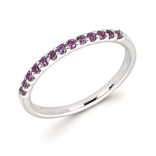 14K white gold and alexandrite birthstone stackable ring. June birthstone ring. Stackable birthstone ring. Lab created grown.