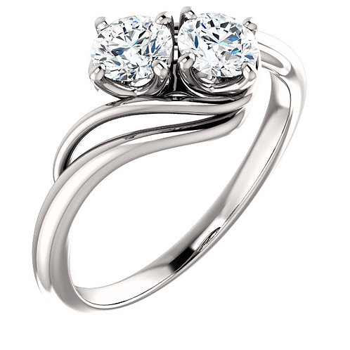 14K white gold two stone ring. 2-stone ring. Two-stone ring. Two stone engagement ring. Two stone right hand ring. Two stone.