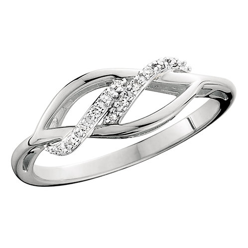 10K white gold diamond double wave ring. Waves of diamonds in white gold. Right hand ring. Cocktail ring. Diamond ring. White