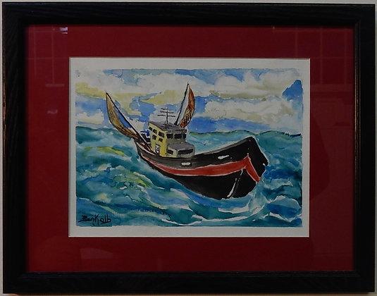 Trawler at Sea (watercolor)