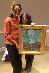 Featured Artist, Holly Markhoff with Carla Hall at a DC Fundraiser