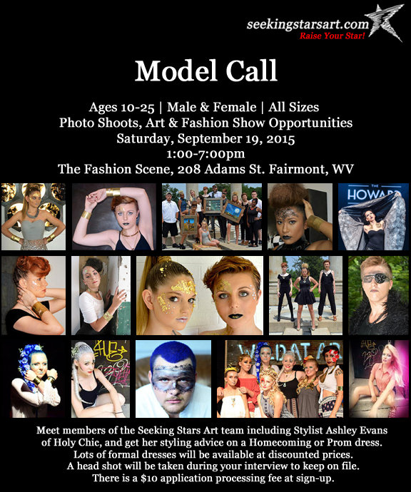Model Call at The Fashion Scene in downtown Fairmont, WV for photo shoots, art and fashion show opportunities