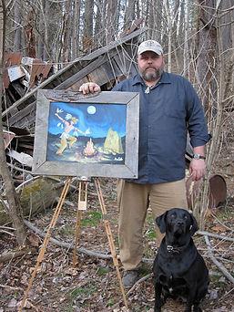 Artist, Flintknapper and Carver, Ben Kolb and his dog