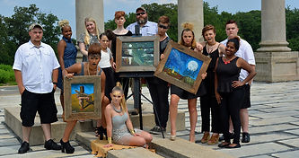 Group photo shoot in Washington, DC with members of the Seeking Stars Art Family featuring Artist Ben Kolb's paintings