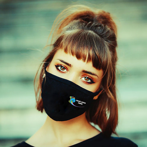 3 Layer Black Cotton Masks - Full Colour Logo (500 Units @ $3.39 each)