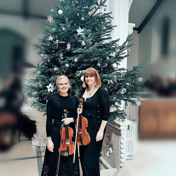 Our violinists Gill and Maggie helped br