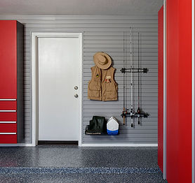 Red Cabinets w Fishing Rods on Grey Slat