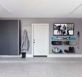 Granite Cabinets-Grey Slatwall with Ski